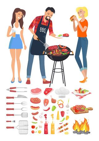 BBQ Barbecue Party People Icon Vector Illustration Ilustração