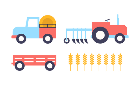 Farm farming equipment and ear of wheat field. Tractor agrimotor automobile and grain crops. Trailer of driving vehicle of farmers icons set vector