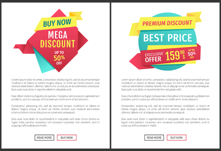 Mega discount with buy now on rhomb and best price with premium discount on sphere advert label. Exclusive offer landing page with read more button.