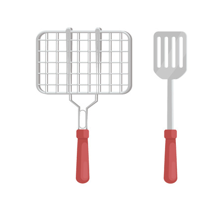 BBQ Barbecue Grill and Spatula Vector Illustration