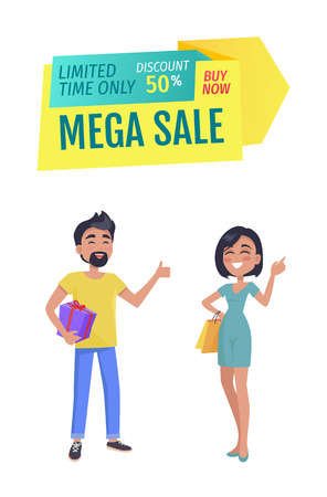 Mega sale and discount for only limited time banner. Promotion poster with smiling man and women customers with present and shopping bag in hands. Illustration
