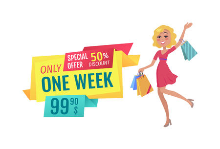Only One Week Special Discount Vector Illustration