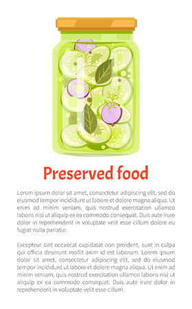 Preserved food cucumber and onion with leaves. Pickles in salty liquid vegetables conserved for winter season. Homemade marinated meal poster vector Foto de archivo - 127420488