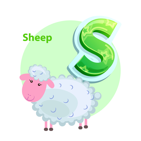 Letter S for Sheep cartoon alphabet for children Illustration