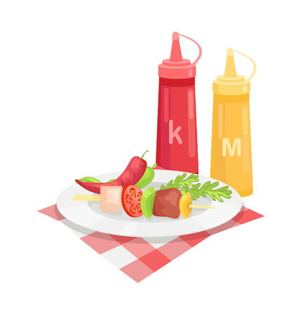 Skewer barbeque meal isolated icon vector. Plate with satay vegetables and meat. Pepper slice herb and tometo slice with sauces mustard and ketchup Illustration