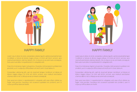 Happy family posters set with text sample. Mother holding newborn baby, father with balloons, daughter plays with dog pet. Son holding ball vector Standard-Bild - 127420492