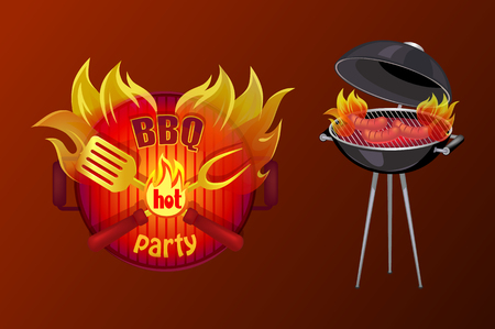BBQ party poster with text in flame. Barbecue icon of brazier with grille grid and sausages cooking on fire. Hot meal frankfurters preparation vector
