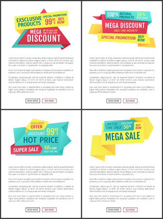 Mega discount exclusive promotion posters and text sample. Hot price super sale on limited time, Shop announcements of stores deals and offers vector 일러스트