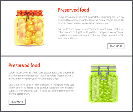 Preserved food pea posters with text set. Homemade meal confiture conserved in glass jars. Vegetables and cherry-plum yellow fruit marinated vector Çizim