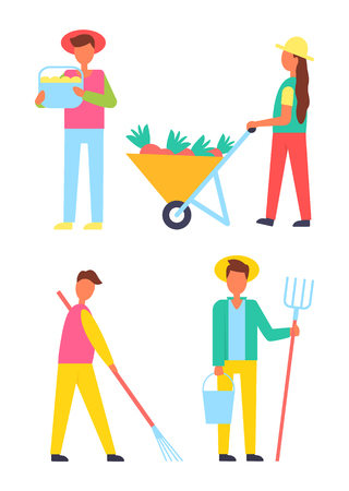 Harvesting people icons set. Farmers working on land using rake hayfork and bucket. Season of gathering fruits and vegetables, autumn works vector