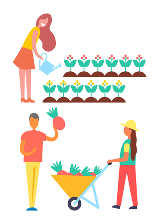 Harvest and farmers icons set. Female waters flowers with watering can. Man picking ripe fruit in trolley pushed by farming woman, farm people vector Illustration