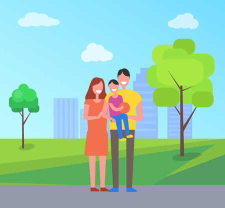 Parents and son on fathers hands in city park on background of skyscrapers. Happy family spend time togheter, couple and child walk outdoors, vector people