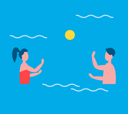 People playing in water polo in swimming pool. Man and woman couple throwing big ball to each other. Games and activities for sportive persons vector Illustration