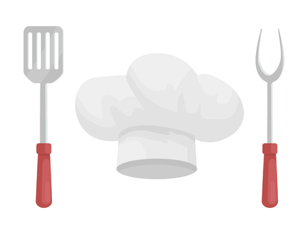 Utensil and hat of chef vector badge in cartoon style. White headpiece between metal fork and kitchen spatula with wooden or plastic handles isolated