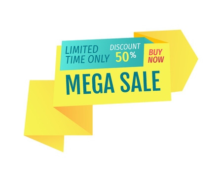 Limited time only 50 percent discount buy now mega sale of store. Good reduction of price coupon for buying products on lower cost isolated on vector 向量圖像