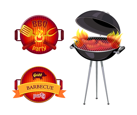 BBQ party barbecue isolated icons vector. Frying pan spatula and fork with flame. Roaster and sausages preparation on grille grid, cookout dishware