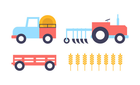 Farm Farming Equipment Wheat Vector Illustration