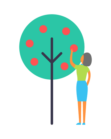 Lady Working in Garden, Isolated Vector Icon. Stock Photo