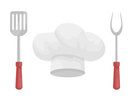 Utensil and Hat of Chef Vector Icon, Cartoon Style Stock Photo