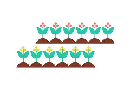 Flowers Set Blooming Growing Vector Illustration Stock Photo