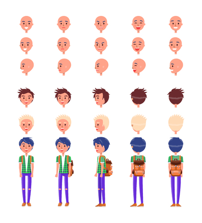 Teenager emotions and hairstyles icons set vector. Male wearing fashionable clothing and backpack, expressing emotions feeling. Anger and happiness Ilustracja
