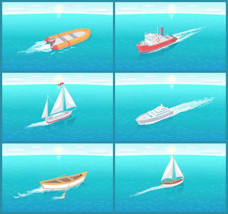 Water transport travel means boats set vector. Sailing and ships for cargo transportation, box shipments. Inflatable rubber vessel for fishing people Illustration