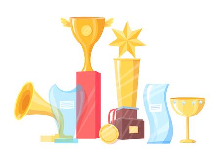 Awards set of different shape vector illustration. Golden trophy cups and medal, star on pedestal and gramophone, irregular glass figures with labels