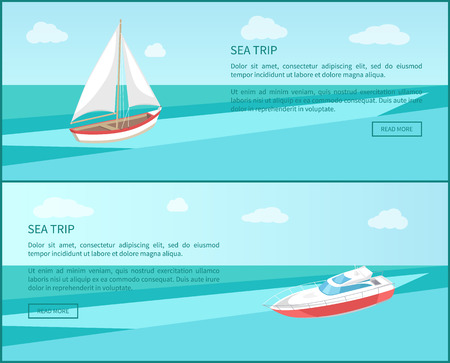 Sea trip web poster modern yacht and boat with canvas marine nautical personal ship icon. Sailboat sailing in deep blue waters and leave trace vector
