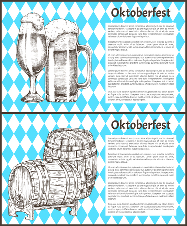 Oktoberfest Beer Objects Set Hand Drawn Icons Ilustrace