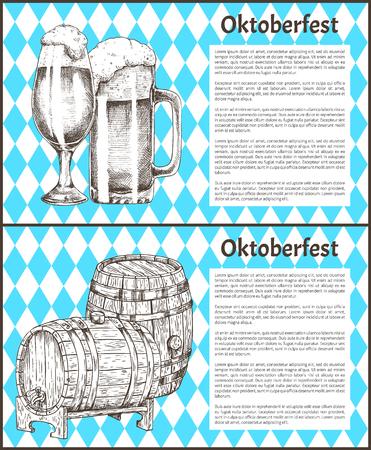Oktoberfest Beer Objects Set Hand Drawn Icons Illustration