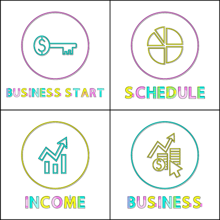 Business start key, schedule diagram and growing income lineout icon management thematic illustration set to depict all needed for successful start-up Illustration