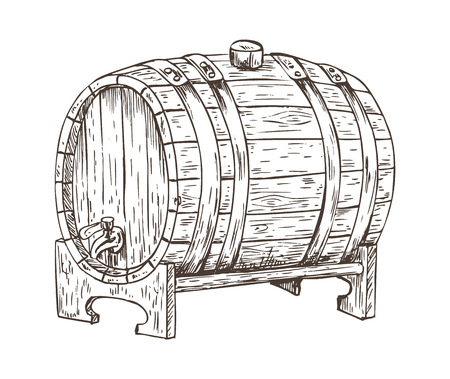 Beer barrel vintage keg monochrome sketch outline. Hand drawn image of container with alcoholic drink getting better with age vector illustration Illustration