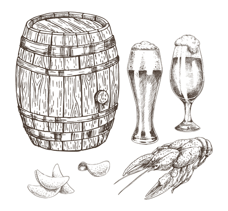 Wooden keg beer goblets and appetizer graphic art, isolated on white backdrop vector illustration of malt in glossy glasses chips and grilled crayfish