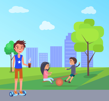 Students and children playing with big ball in park vector. Cityscape with skyscraper buildings and clouds above. Male on gyroscooter with coffee Ilustração