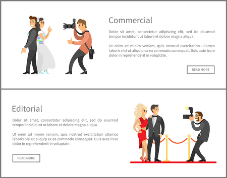 Photographer and paparazzi online banners set. Wedding photo, bride next to groom, celebrities couple on red carpet cartoon vector illustrations.