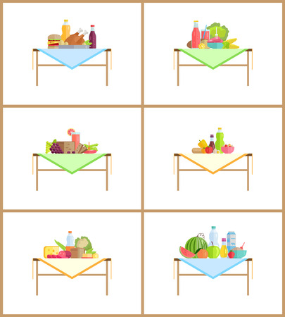 Food as still life composition for photo. Fruits and vegetables or dishes on table with napkin. Healthy food and desserts vector illustrations set. Foto de archivo - 127420522