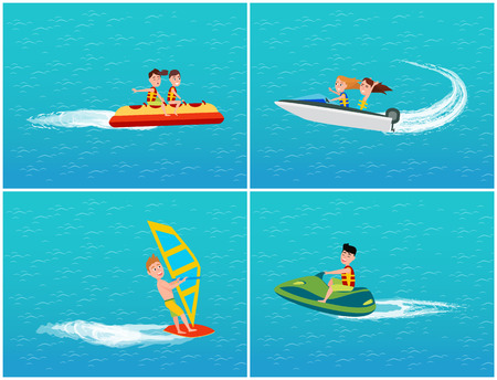 Water transport banana boat and jet ski set of transportation relaxation vector. Windsurfing sport and hobby, sailing on board, girls on motor vessel