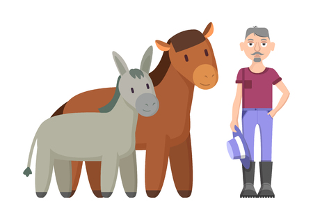 Donkey horse and farmer wearing rustic clothes holding hat. Livestock of male living in countryside. Animals mammals breeding vector illustration