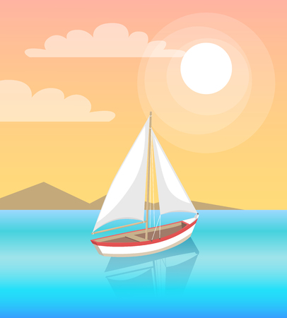 Modern yacht marine nautical personal boat icon. Sail boat with white canvas sailing in deep blue waters and leave trace vector on backdrop of mountains