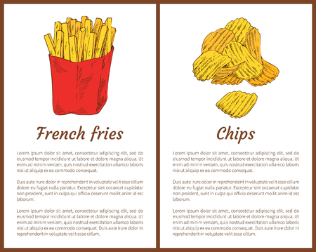 French fries snack and golden potatoes chips. Fast food high in fat fried product. Unhealthy products in package for people to eat vector illustration Illustration