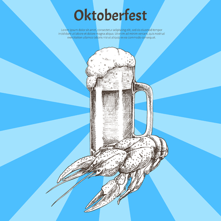Oktoberfest invitation to holidays vector poster, isolated illustration of roasted crayfish, foamy beer in goblet with handle, tasty ale and snack Illustration