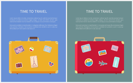 Time to travel stickers on luggage posters with text sample set vector. Luggage with Eiffel tower and Taj Mahal. Egypt and Rome, UAE and France sign