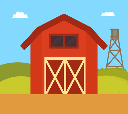 Farm House Nature Landscape Vector Illustration