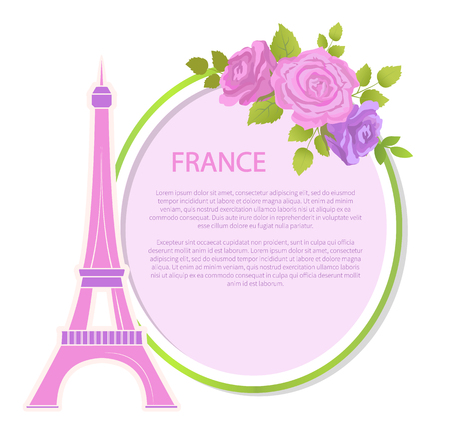 France poster with text Eiffel tower vector. Cultural heritage of European country, French symbol. Paris capital sign and flowers in blossom blooming Illustration