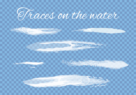 Traces on water splashes set transparent background vector. Lines left by boats, ships or other sea and ocean vessels. Brushes and abstract drawing