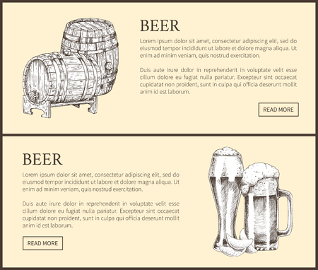 Beer objects set hand drawn vector sketches. Full tumblers with flowing foam and wooden barrel isolated on beige vintage illustrations for bar menu