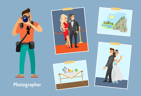 Photographer with digital camera and photos. Wedding photography, still life picture, celebrities couple and mountain landscape vector illustration. Иллюстрация