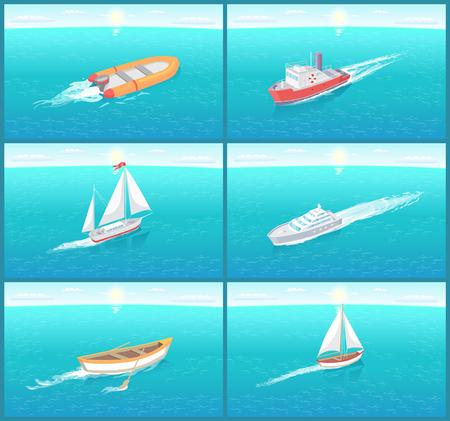 Wassertransport Reisen bedeutet Boote Set Vector Standard-Bild