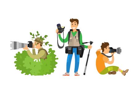 Set Photo Journalists Making Broadcast Reportage Stock Photo