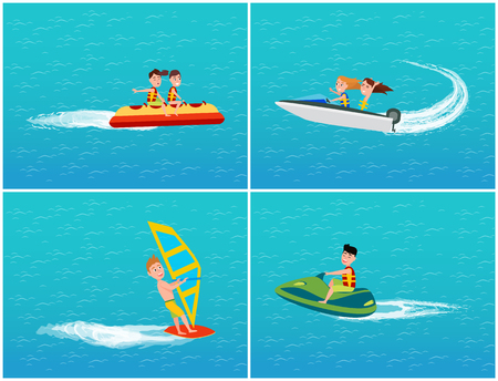Water Transport Banana Boat and Jet Ski Vector